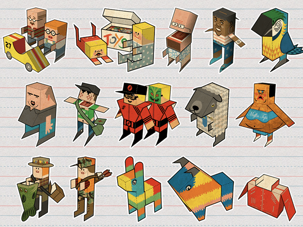 O armată de jucării din hârtie pliată