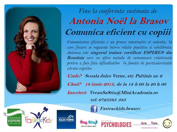 Comunică eficient cu copiii, la orice vârstă – Antonia Noël la Brașov