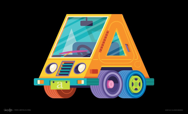 Învățăm literele prin desene cu vehicule