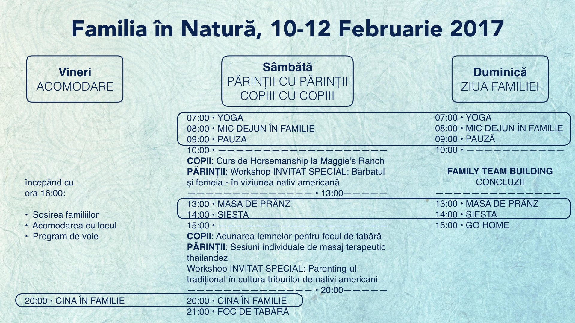 Familia în Natură - Program